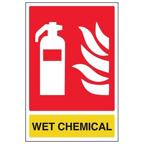hiusan Fire Extinguisher Sign, Wet Chemical ID, Aluminum Metal Sign,Portrait, 200 mm x 300 mm, Black/Green/Red/Yellow