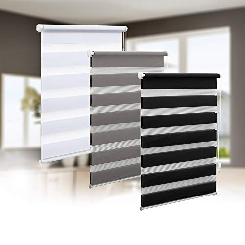 Eurohome - Estor doble, montaje sin agujeros, transparente y opaco, evita que se vea el interior, con fijación de soportes para ventanas, tela, Blanco, B x H=45cm x 150cm