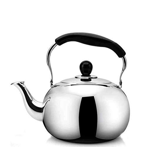 tea kettle Grande Capacité en Acier Inoxydable Whistling Bouilloire À Thé-café Bouilloire À Thé, Poignée Ergonomique Résistant À La Chaleur, Convient for Stove Top (Couleur : Silver, Taille : 4L)