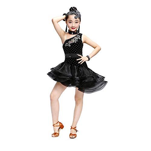 Children's wear Costumes de Danse pour Enfants, Jupe Moelleux Filles Latin Lumba Pratique des vêtements de Danse, adapté pour la Performance de la scène Spectacle GB Test de Danse (120-170cm) ZDDAB