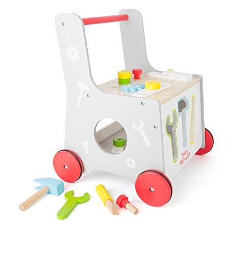 2 in 1 Lauflernwagen Werkzeug Werkstatt Lauflernhilfe Steckspiel mit Gummibereifung 34 x 36 x 44 cm, 13-teiliges Zubehör - 3