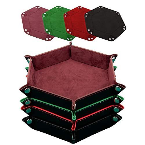 SIQUK 4 Pezzi Tavola Dadi PU e Velluto Vassoio per Dadi Pieghevole per DND RGP Giochi da Tavolo, caffè, Verde, Rosso e Nero