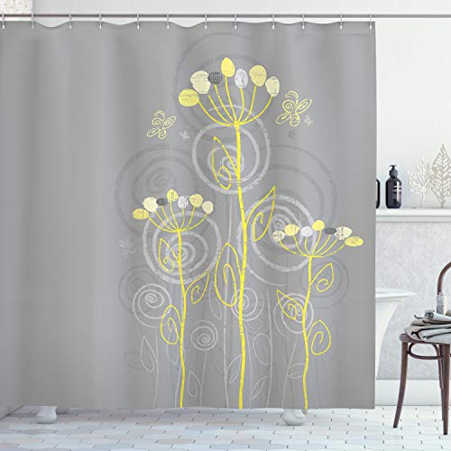 Ambesonne Grey and Yellow Shower Curtain, Under The Sea Inspired Flowers Abstract Swirls Backdrop, Cloth Fabric Bathroom Decor Set with Hooks, 70