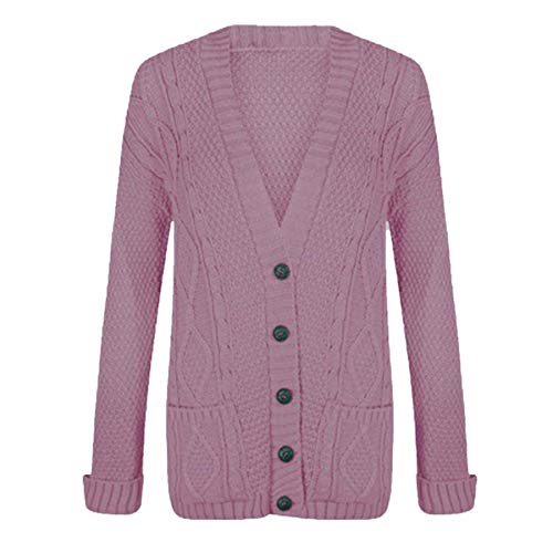 RIDDLED WITH STYLE - Cardigan da donna, a manica lunga, maglione Aran spesso, a trecce, con bottoni Rosa confetto 56-58