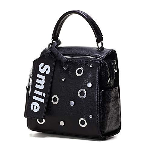 Yhui Geschenktüten Mode Tasche Damen Handtasche erste Schicht Leder kleine quadratische Tasche tragbare geschlungene Schulter Einkaufstasche (Farbe : Schwarz)