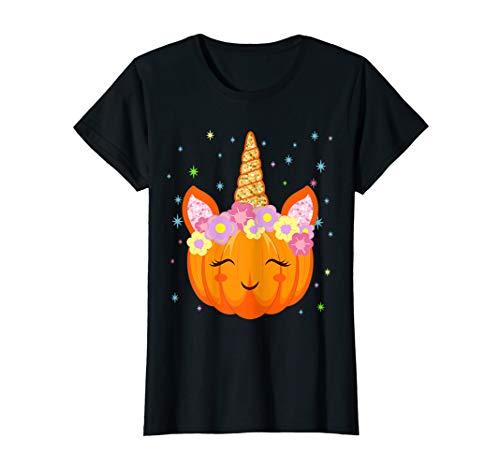 Halloween Einhorn Kürbis - Süß Geister Gruselig Pony Mädchen T-Shirt