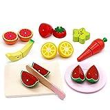 Symiu Cocinitas De Juguetes Frutas y Verduras Juguete para Cortar Cortar Frutas Juguetes Madera Regalos para Niños De 3 4 5 Años(20 Piezas)