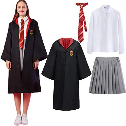 AOGD Bambini Adulto Donna Scuola di Magia Mantello Uniformi Costume Abito da Mago Costume Cosplay Carnevale Travestimento Halloween Costume Festa di Natale Cravatta Mantello Camicia Gonna