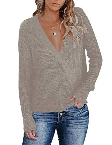 MEROKEETY Womens Deep V Neck Wrap Sweaters Long Sleeve Crochet Knit Pullover Top (Waffle Khaki, Medium)