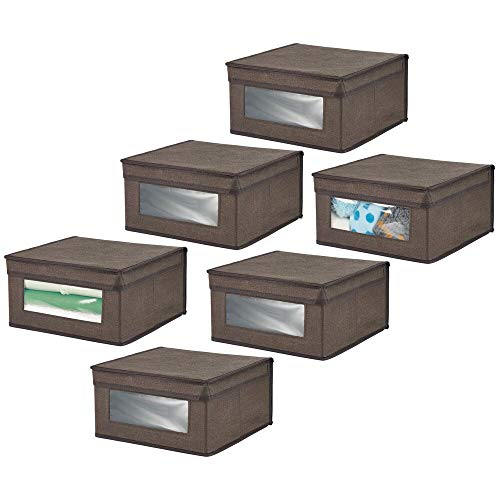 mDesign Soft Stackable Fabric Closet Storage Organizer Holder Bin with Clear Window Attached Hinged Lid - for Bedroom Hallway Entryway Bathroom - Textured Print - Medium 6 Pack - EspressoBrown
