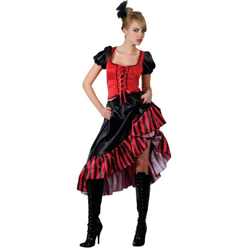 Damen Medium Saloon Girl Red Outfit Kostüm für Moulin Rouge Wilder Westen Kostüm
