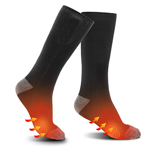 Heated Socks Electric Heating Sock Rechargeable Foot Warmer Thermal Sock with 3.7V 2200mAh Battery 3 Heating Mode for Men Women Cold Weather Outdoor Sports Skiing Hunting Hiking Fishing Riding Camping