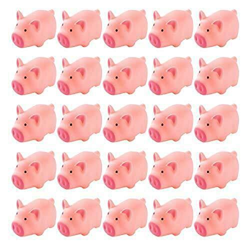 Mini cerdos de goma de 25 piezas, juguete de ventilación creativo de descompresión de cerdo rosa suave lindo natural, juguetes divertidos para niños, bebés, niños