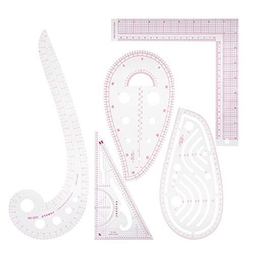 Regla de costura, 5 piezas duradera con escala regla de clasificación multifunción duradera para costura de bricolaje, corte a medida para imposición de dibujo