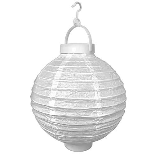 LED Lampion Party Garten ø 20cm weiß Deko Lampenschirm Lampe Kugel Laterne