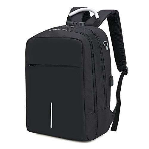 hysxm Große Kapazität USB-Ladestation Laptop-Rucksack Diebstahlsicherer Business-Reiserucksack 15,6 Zoll Wasserbeständige Computertasche Männlich, schwarz