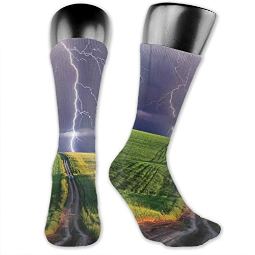 Moruolin Socks Cute Funny For Summer,Summer Storm About To Appear With Flash On The Field Solar Illumination Energy Decor,Running Outdoor Recreation,Trainer Socks for Men and Women