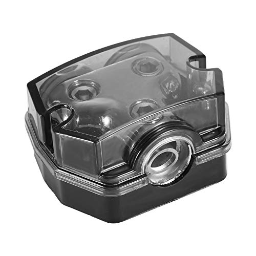 Akozon Power Ground Distribution Block - Distribuidor de corriente de audio para coche (1 x 0GA In 2 x 0GA Out-Block)