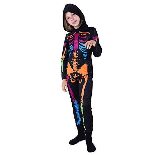 LLSS Cosplay Halloween Navidad Novedad Regalo Disfraz para niños Marco de Esqueleto Ropa Fantasma Ropa de Terror Color Cráneo Traje de Baile