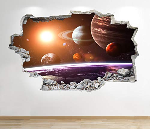 1Stop Graphics Shop SPACE WALL STICKER WINDOW 3D LOOK - GALAXY STARS MOON BOYS BEDROOM DECAL Z839 Size: Large