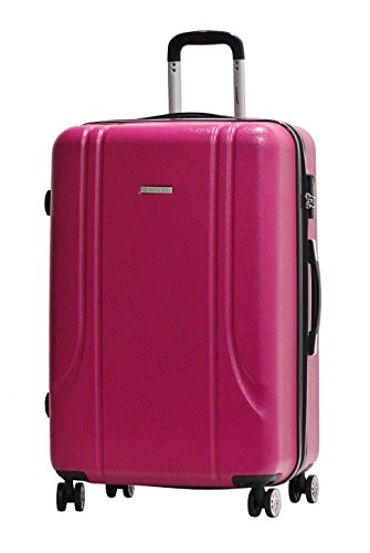 Valigia Formato L 75 centimetri -Trolley ALISTAIR Smart -ABS ultra leggero - 4 ruote - Rosa