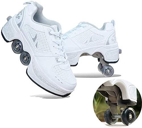 Junge Mädchen Schuhe Kinderschuhe Mit Rollen Laufschuhe Verstellbare Quad-Rollschuh-Stiefel Outdoor Schuhe Rädern Gymnastik Sneaker,White-37
