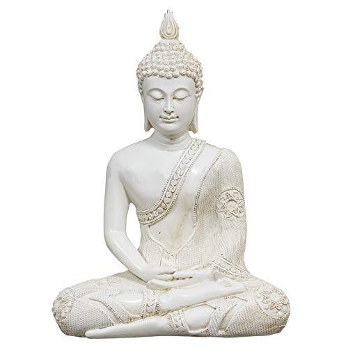 GerichteKeuze Sitzender thailändischer Meditation Buddha 29 cm Weiss