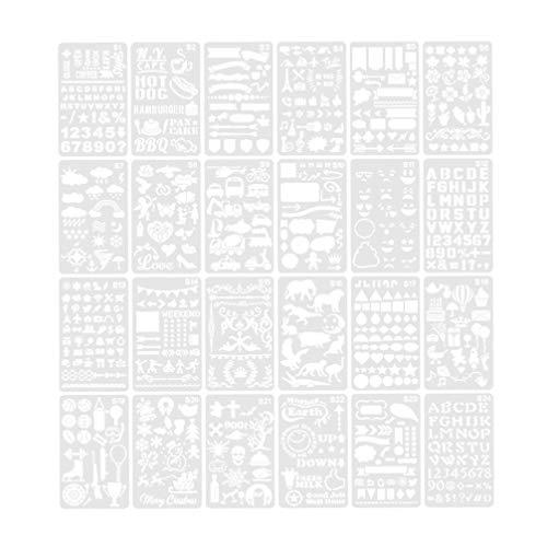 BESPORTBLE 24 Vellen Kunststof Tekening Stencils Verschillende Patroon Schilderen Stencils Tekenen Schaal Sjabloon voor DIY Card Maken Dagboek Bladwijzer
