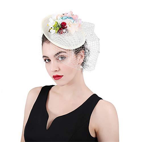 MELLRO Cocktail Haarband Wettbewerb der Frauen königliches Ascot Sinamay-Blumen-Netz Fascinator-Hut-Hochzeits-Kopfschmuck