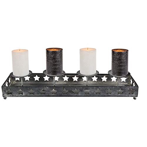 OOTB Advent Kerzenhalter Kerzenleiste Metall antik-Finish für 4 Kerzen - Adventskranz Adventsgesteck - Dekoration Weihnachten, 40 cm lang, Vintage, Zahlen, back2season
