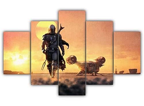 Yywife 5 Teile Bild Auf Leinwand Leinwandbilder Star Wars Mandalorianer Mando Pedro Wandkunst Tapete Dekorative Wandbild Für Wohnzimmer Home Decor 150 * 80 cm (Mit Rahmen)