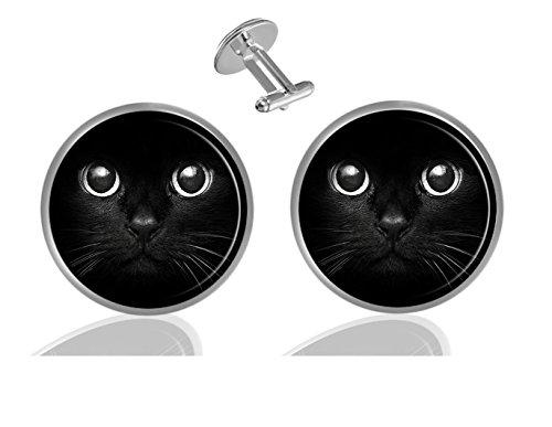 LCTCKP Custom Personality Men's 2PCS Fashion Dazzling Shirt Cuff Links Initial Silver Round Cufflinks (Cute Cat Face Black)