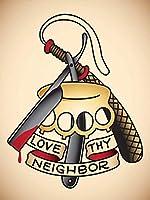 隣人を愛する-ブリキの看板ヴィンテージノベルティ面白い鉄の絵の金属板