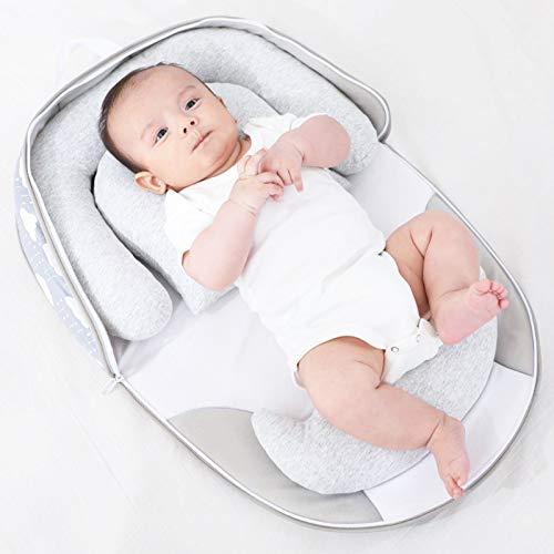 AZYJBF Nido Cuna Suave para Bebe Reductor Protector Portátil de Viaje Respirable e Hipoalergénica Niño Recién Nacido Cama para Dormir de 0-24 Meses