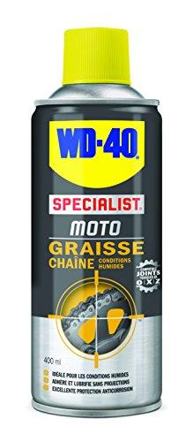 WD-40 Specialist Moto • Graisse Chaîne • Aérosol • Idéal Off-road et conditions humides • Protection anticorrosion • compatible joints toriques en O, X et Z • 400 ML