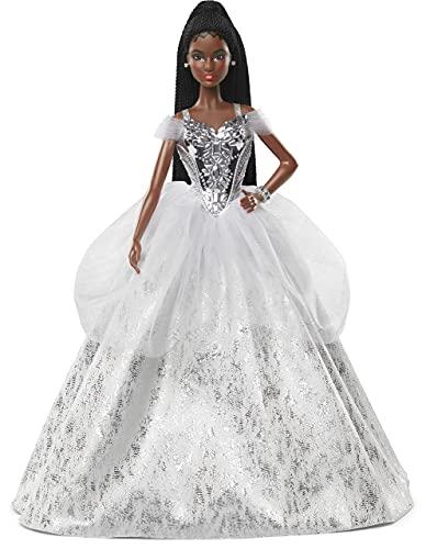 Barbie Signature 2021 - Muñeca Barbie (12 Pulgadas, Pelo Trenzado Morena) en Vestido de Plata, con Soporte para muñeca y Certificado de autenticidad, Regalo para niños de 6 años en adelante
