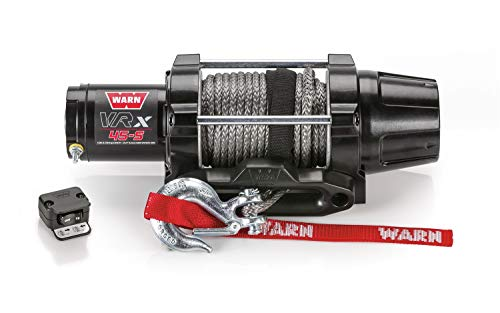 """WARN 101040 VRX 45-S Powersports Winch with Handlebar Mounted Switch and Synthetic Rope: 1/4"""" Diameter x 50' Length, 2.25 Ton (4,500 lb) Capacity"""