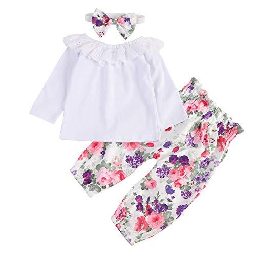 BOBORA Vêtements Bébé Fille 3PCs Ensemble sans Manches en Coton + Pantalon Fleurs + Bandeau 0-18Mois