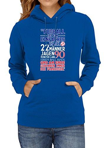 Frankreich Weltmeisterschaft 2018#30 Premium Hoodie Fan Trikot Fußball WM Nationalmannschaft Frauen Kapuzenpullover, Farbe:Blau;Größe:XXL