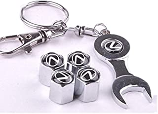 Set of 4 Tire valve stems Caps with Wrench Keychain For MG MORRIS GARAGE