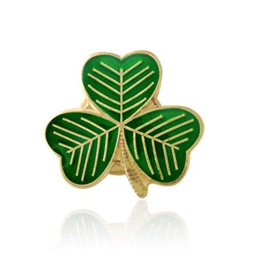 JQS - esmaltado de la hoja del trébol irlandés de la solapa de identificación pasadores de San Patricio Día tamaño del paquete: 100