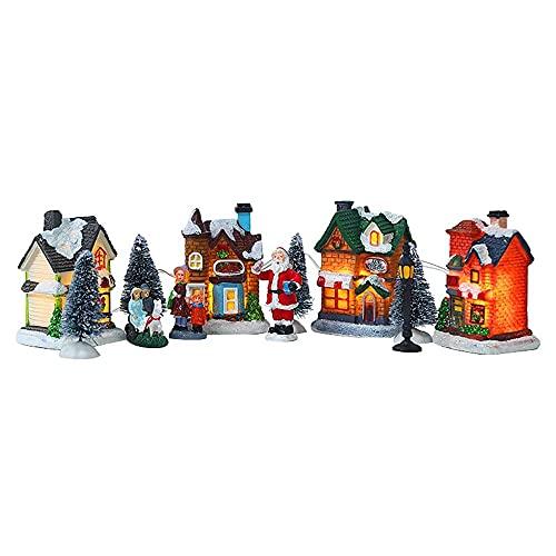 Kaxofang 10 Piezas Navidad Papá Noel Casa de Nieve Conjuntos de Escenas Diminutas Luces LED Luminosas Tienda de áRbol de Navidad DecoracióN de Pueblo Figuritas ✅