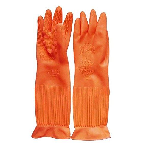 Top819Trade Putz-Handschuhe; wiederverwendbare, lange Gummi-Handschuhe für Küche, Haushalt, Geschirrspülen. L-orange