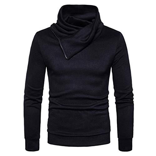 Nner Chic Sportieve sweatshirt met opstaande kraag voor heren, slim fit, sweatshirt, business rits, zachte pullo, asymmetrisch shirt met lange mouwen, gentleman basic, opstaande kraaghemden