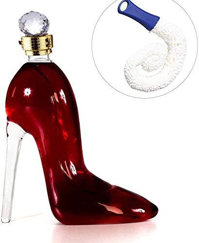 Decantador de whisky 750ml Decantador exquisito con un tapón de diamante hermético, decantador de whisky con tapón hermético, botella de cristal de tacón alto volado a mano reutilizable para vino o li