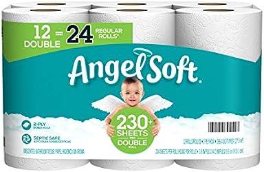 Angel Soft Toilet Paper, 12 Double Rolls = 24 Regular Rolls, 230+ 2-Ply Sheets Per Roll