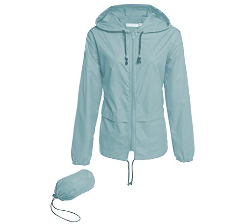 Hount Women's Lightweight Hooded Raincoat Waterproof Packable Active Outdoor Rain Jacket (XL, Light Green)