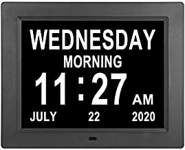 8.4 inch Day Date Time Clock Auto-Dimming Extra Large Non-Abbreviated Digital Day Calendar Clocks 8 Alarm Options Senior Elderly impaired Vision Dementia Clock