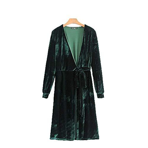 Pijamas Mujer Primavera Otoño Largos Terciopelo Kimono Chic Cómodo Camisones Colores Sólidos Casuales Mujeres Manga Larga V-Cuello con Cinturón Batas Albornoz