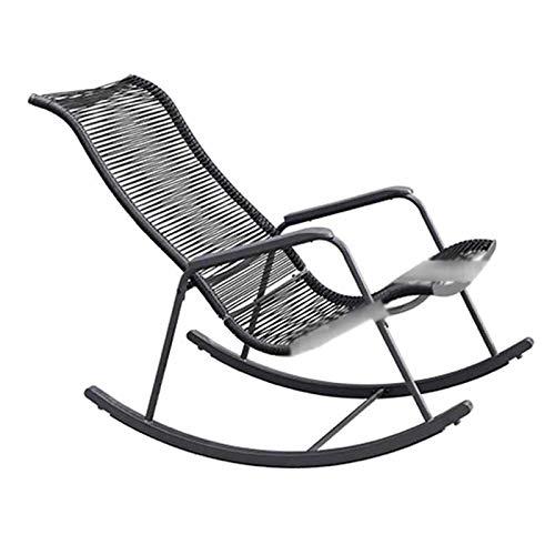 XLSQW Lehnstuhl, Gemütlich Relax Schaukelstuhl PE Rattan Patio-Möbel Gartenstühle Lounge Chair Verzinkte Stahlhalterung, für Indoor Outdoor Office Home (schwarz)